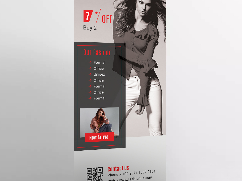 服装时尚行业换季促销x展架易拉宝设计模板