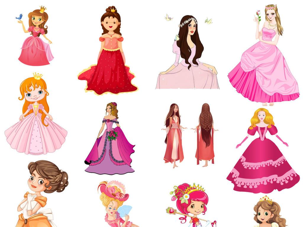粉色手绘卡通可爱俏皮公主裙免扣png素材