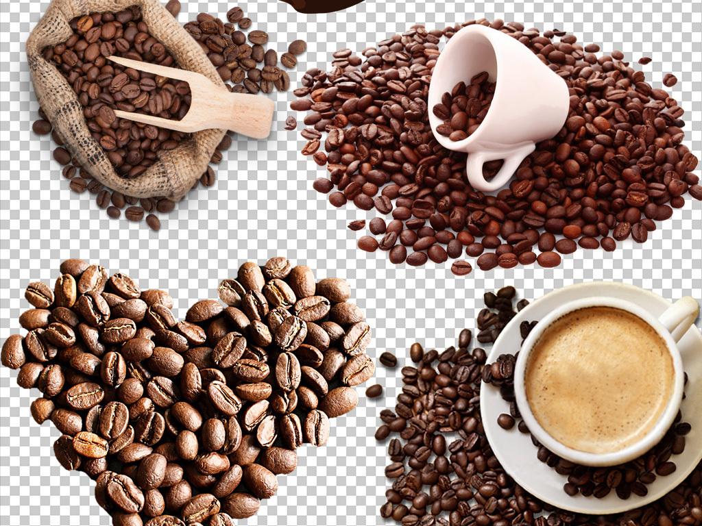 手绘喝咖啡咖啡豆咖啡杯图片素材