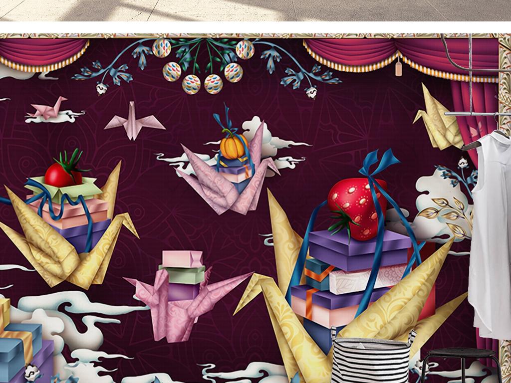 欧式复古奢华窗帘手绘卡通千纸鹤壁纸背景墙