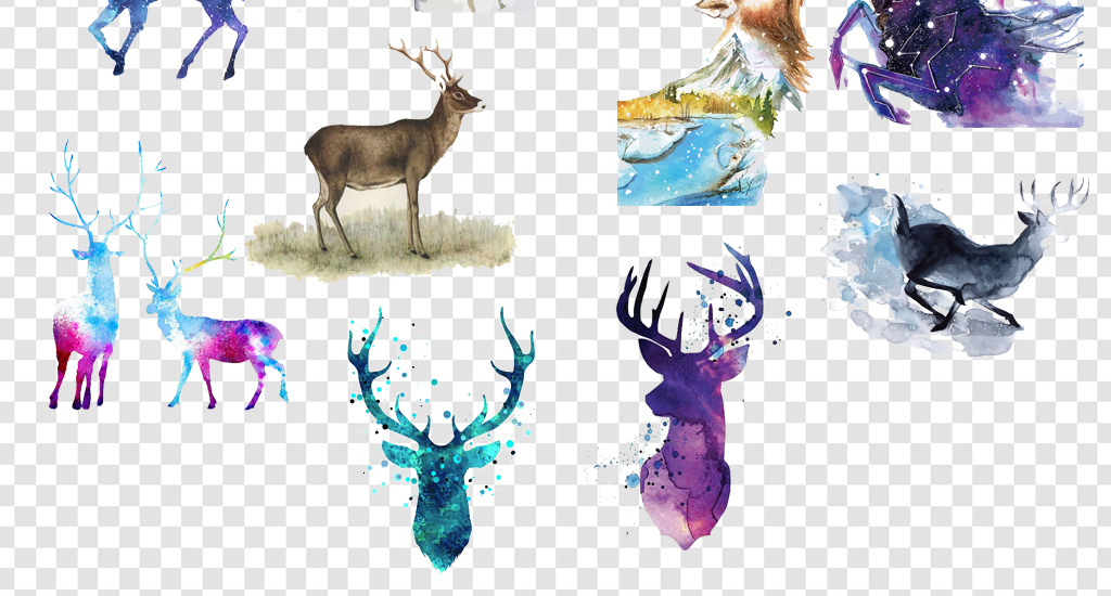 卡通手绘水彩鹿麋鹿png海报素材
