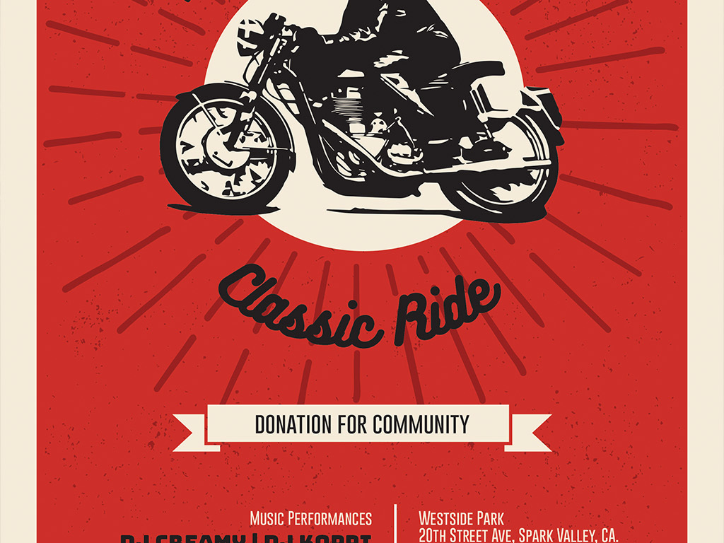 简约复古扁平手绘摩托车俱乐部海报ps模板