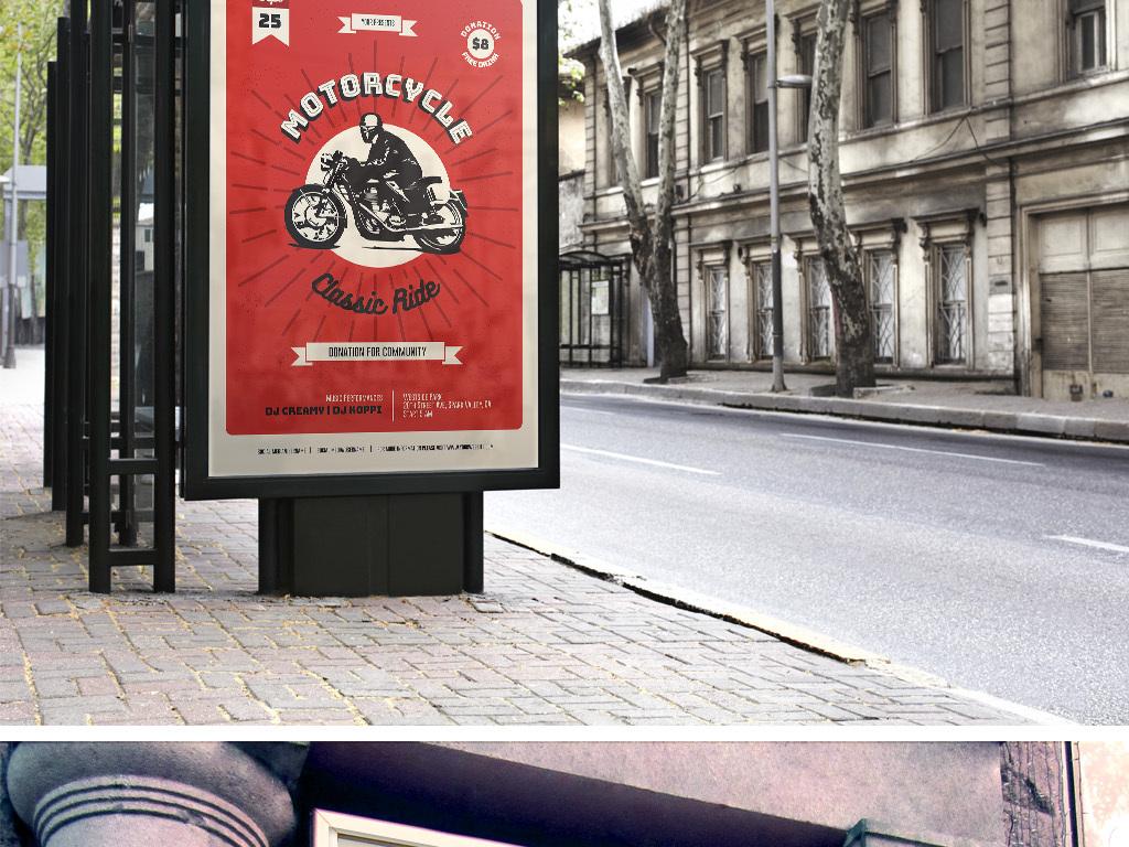 簡約復古扁平手繪摩托車俱樂部海報ps模板