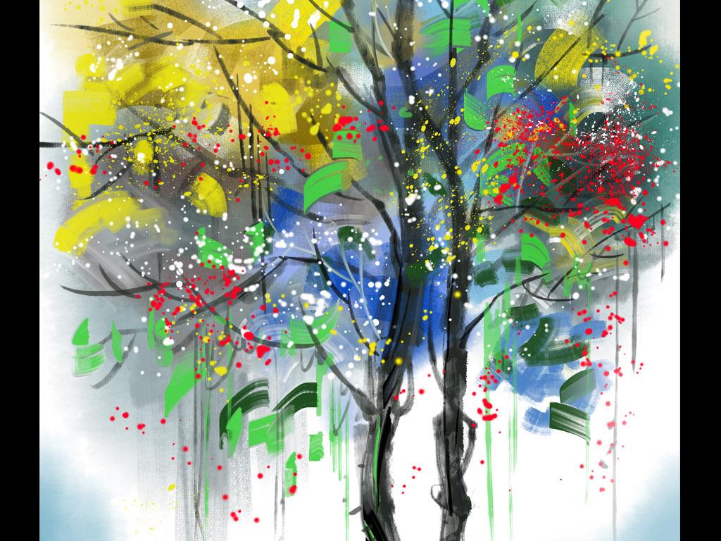 手绘生命树发财树油画玄关装饰画