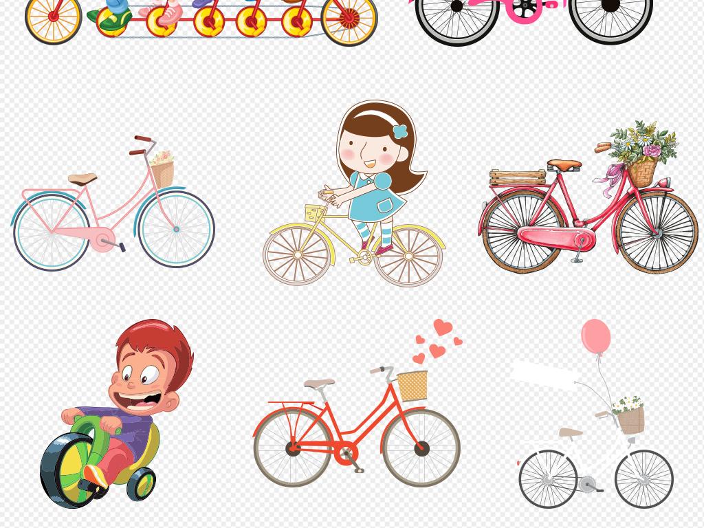 创意卡通自行车儿童单车手绘png素材图片图片下载png素材