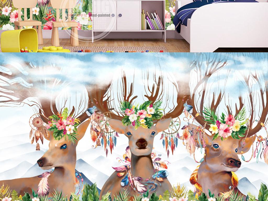 北欧现代手绘梦幻森林鹿电视沙发背景墙壁画