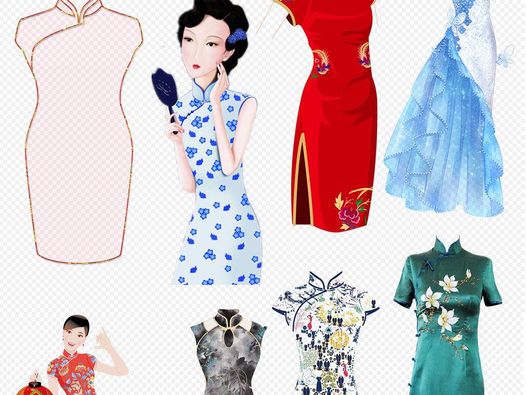 立绘美女手绘女性古典美女民国女性中国风花纹旗袍绿色撑伞