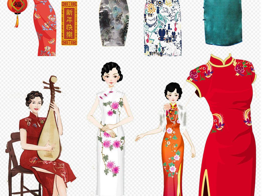 手绘女性古典美女民国女性中国风花纹旗袍绿色撑伞背影油纸伞人物设计