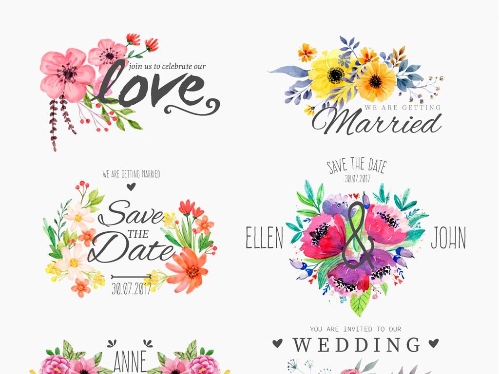 高端手绘水彩植物花卉婚礼设计元素图案