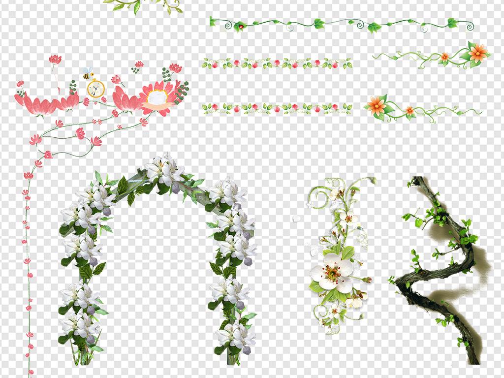 藤蔓花藤花圈手绘花藤花藤边框树叶绿色绿色树叶树藤树藤树叶绿色树藤