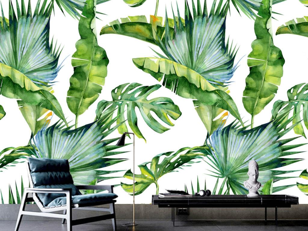 背景墙|装饰画 电视背景墙 手绘电视背景墙 > 北欧时尚东南亚芭蕉叶