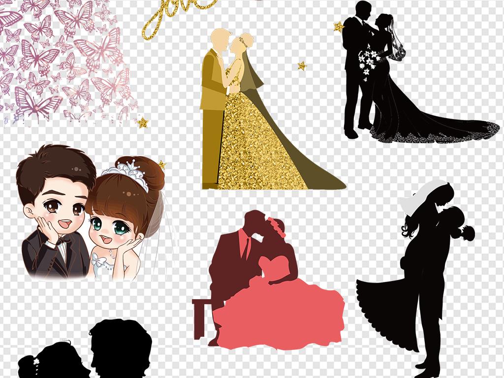 卡通新人结婚新人新人剪影婚礼结婚手绘新人甜蜜恩爱
