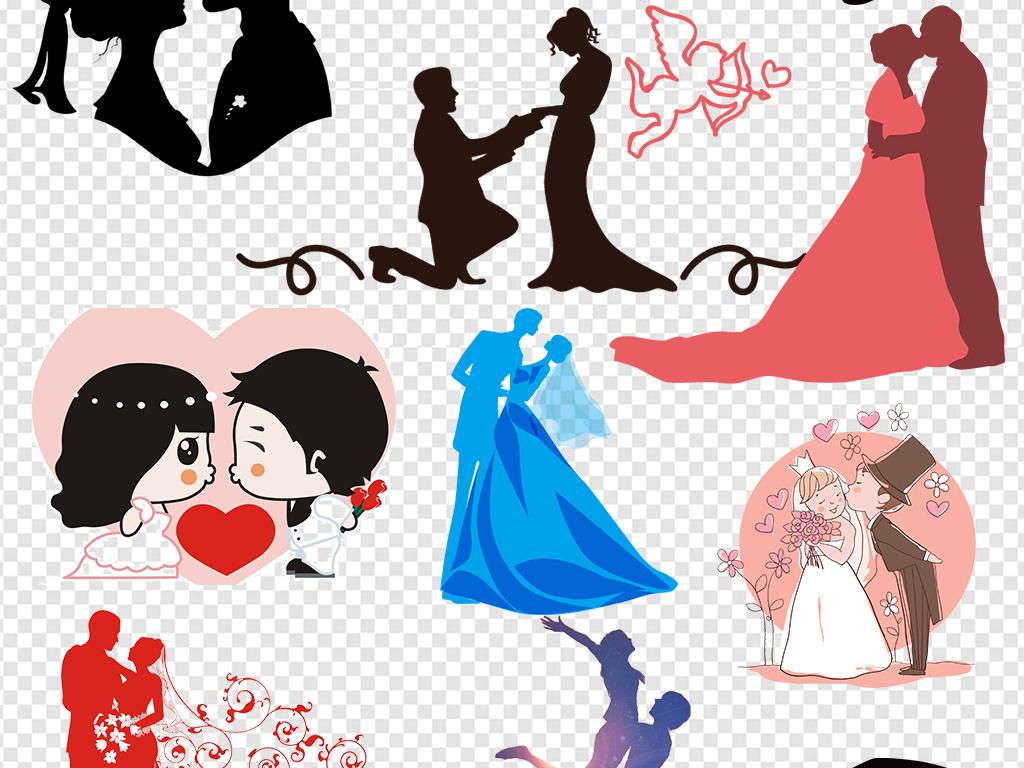 婚庆结婚新人新人剪影结婚手绘