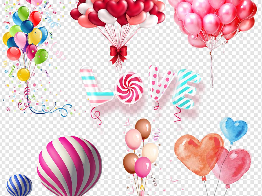 彩色气球升空气球                                  爱心气球手绘