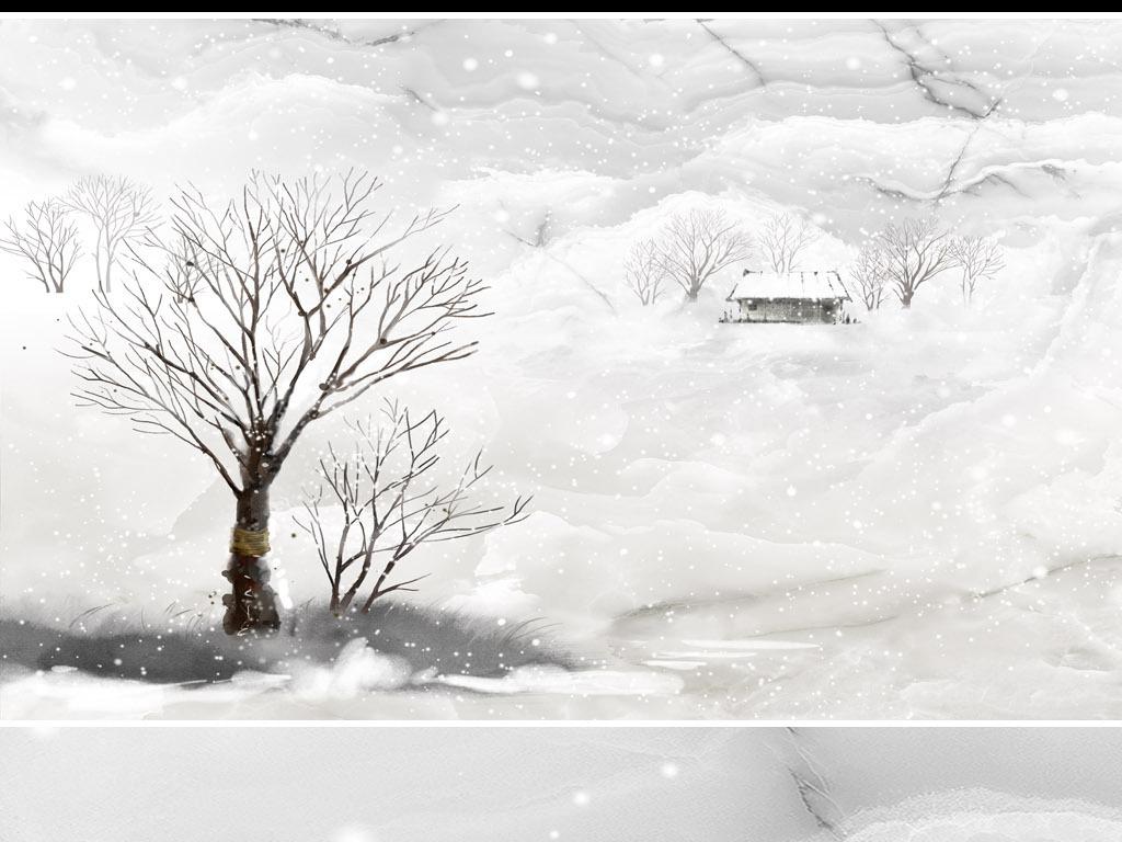 高清大理石纹理手绘冬日雪景风景背景墙