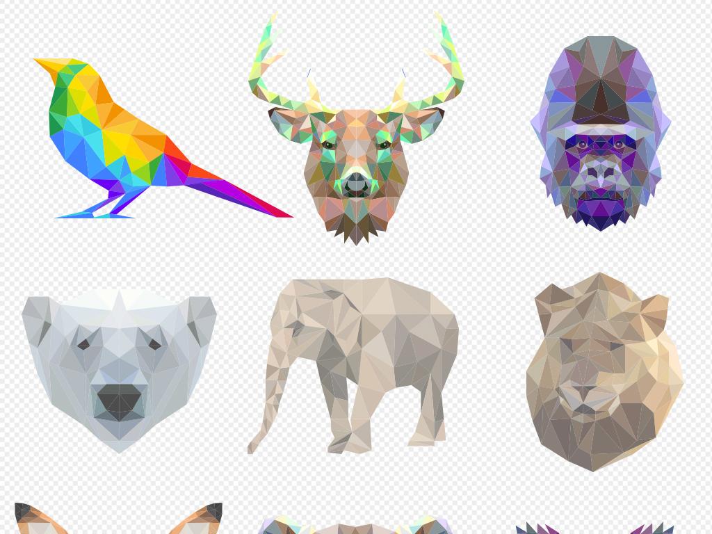 设计元素 其他 其他 > 时尚炫彩多边形几何动物高清png素材图片  版权