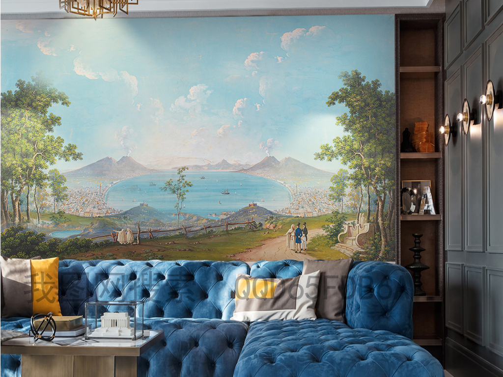 手绘欧式美式中世纪西洋画背景墙装饰画油画