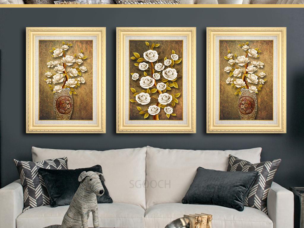 欧式复古手绘立体花卉花瓶平安富贵装饰画