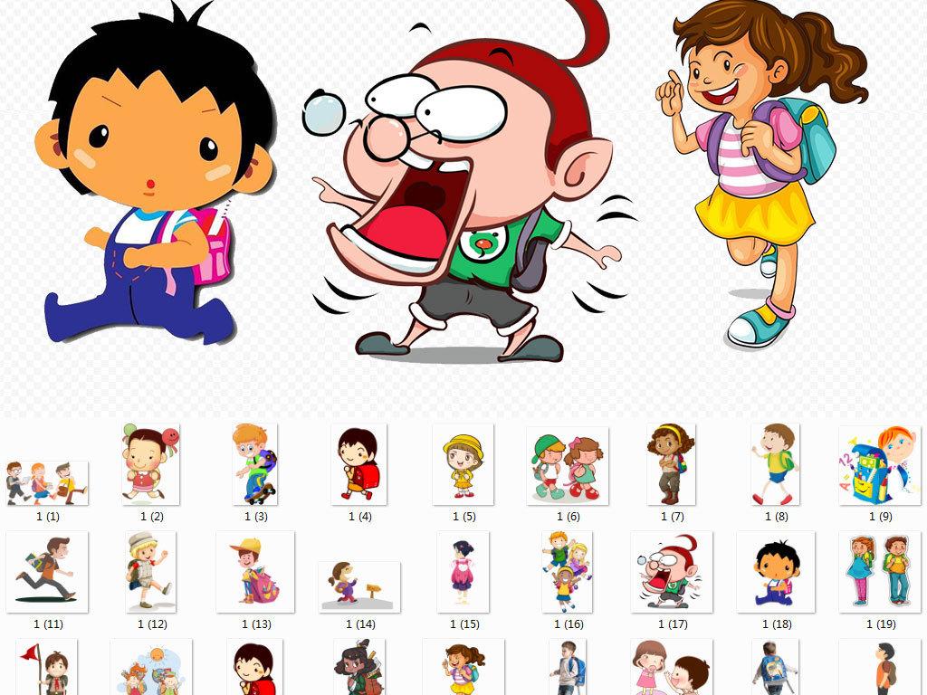 开学学习卡通人物小孩校园校车素材图片