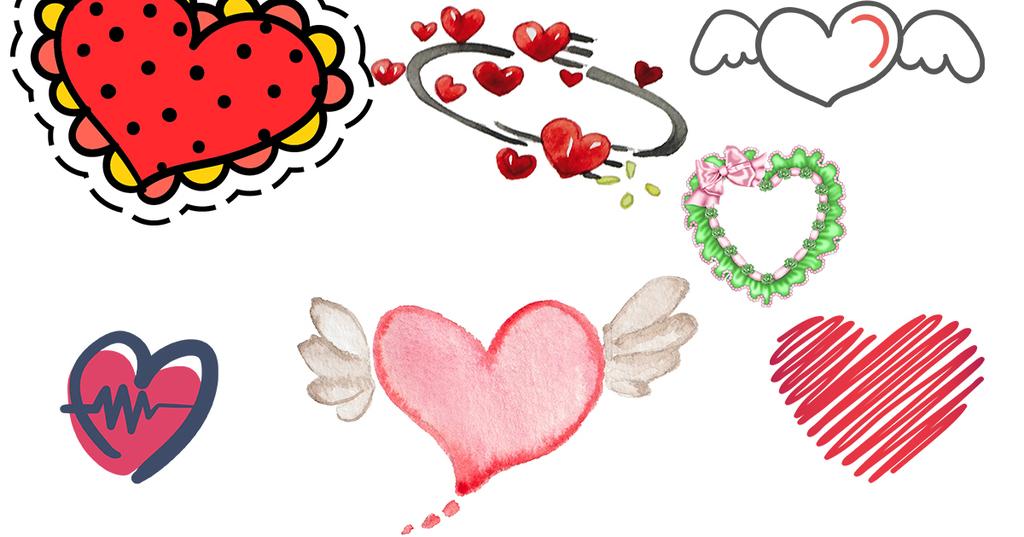 爱心图爱心背景爱心边框卡通心心形翅膀卡通翅膀手绘桃心