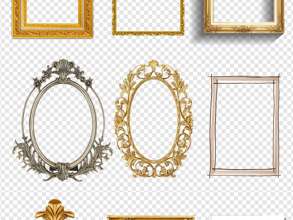 实用金色高贵欧式古典实木边框相框素材