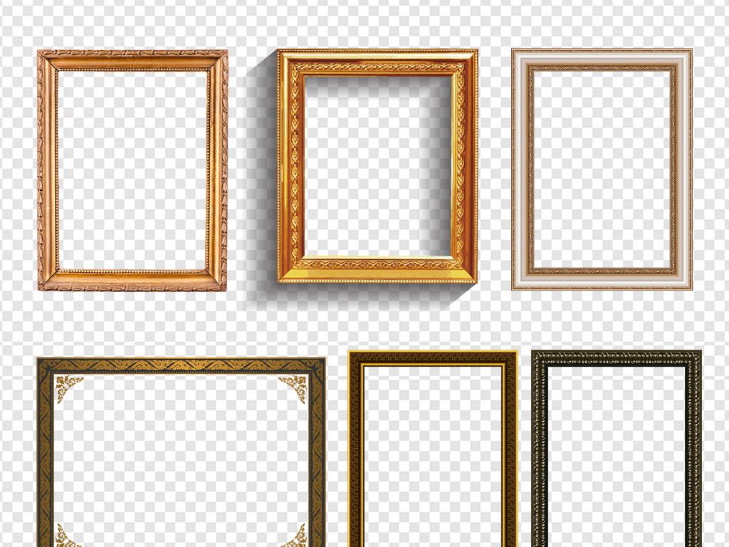金色边框高档边框背景欧式元素古典花边相框边角实木