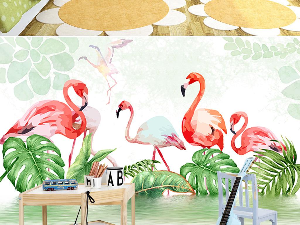 北欧手绘热带植物火烈鸟背景墙卧室壁纸
