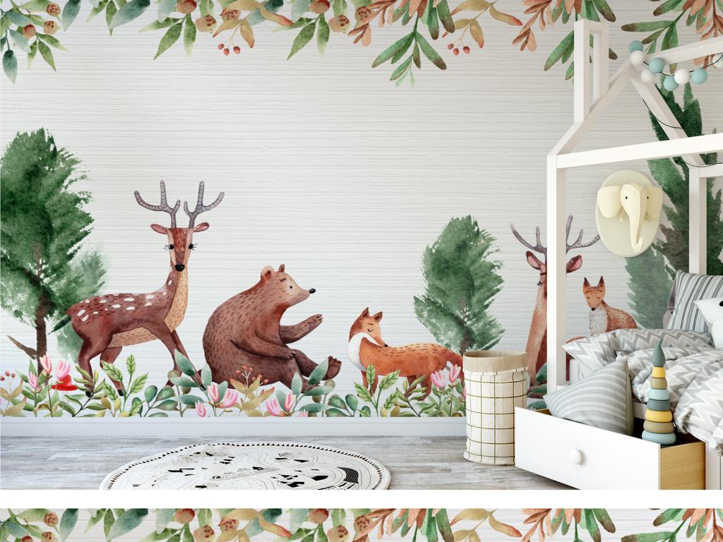 手绘森林动物儿童背景墙壁画(图片编号:16901046)_房