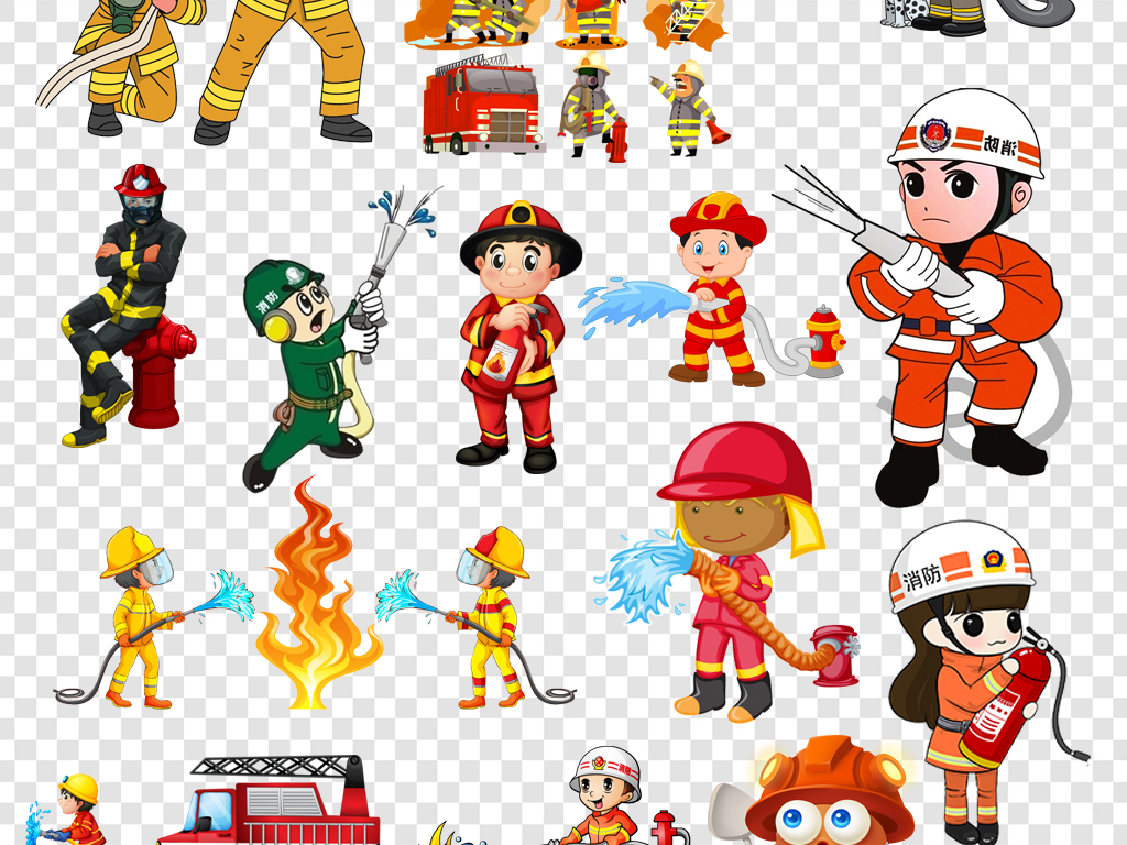 免抠元素 人物形象 帅哥 > 卡通消防员消防安全灭火救灾png海报素材