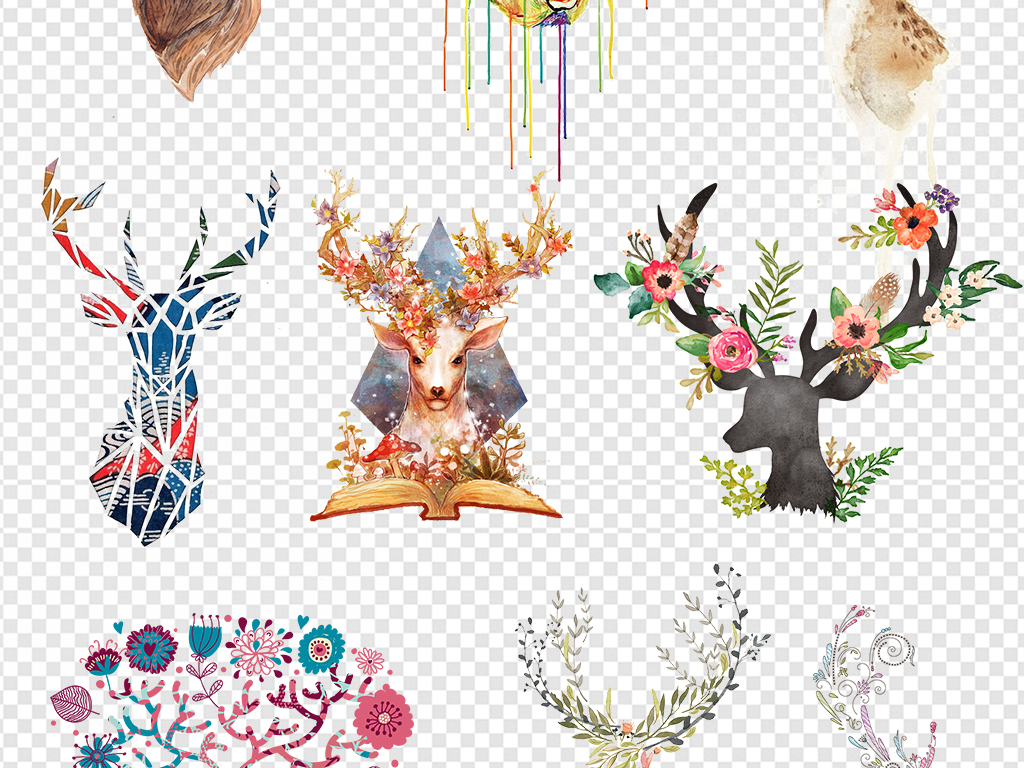图片水彩小鹿鹿水彩鹿                                  插画素材