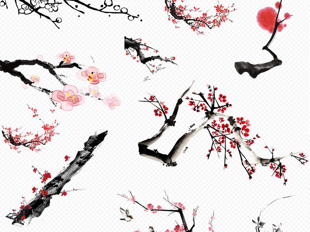 手绘古风图片花瓣插画-png格式梅花图片