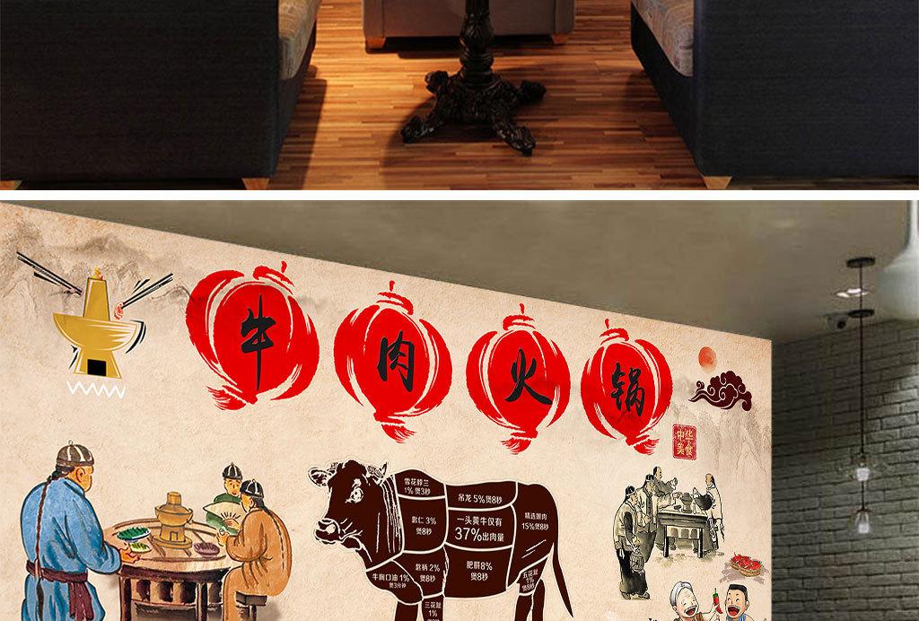 工装壁画壁纸现代立体欧美手绘咖啡店美食餐厅餐馆