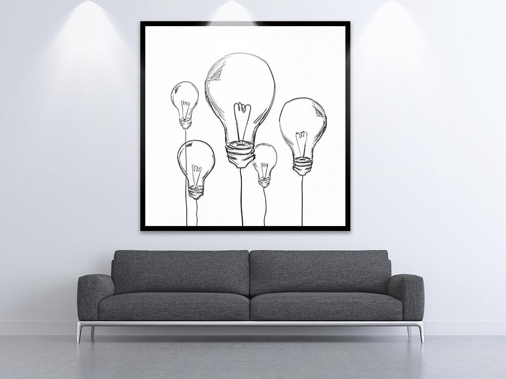 新现代简约手绘线条灯泡装饰画三联画