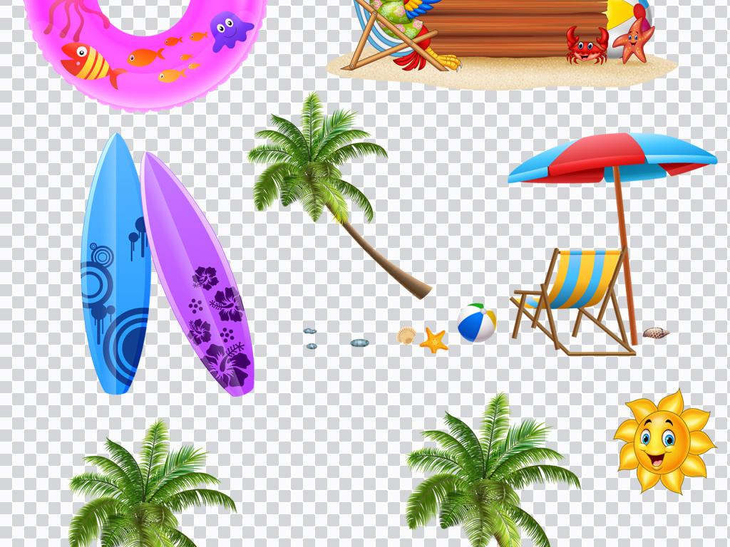 高清手绘夏日沙滩景色太阳泳圈等png免抠素材