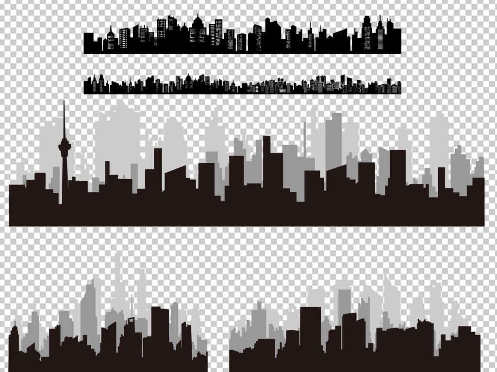 手绘矢量图免抠图线条素材城市城市剪影剪影元素免抠素材透明素材线条