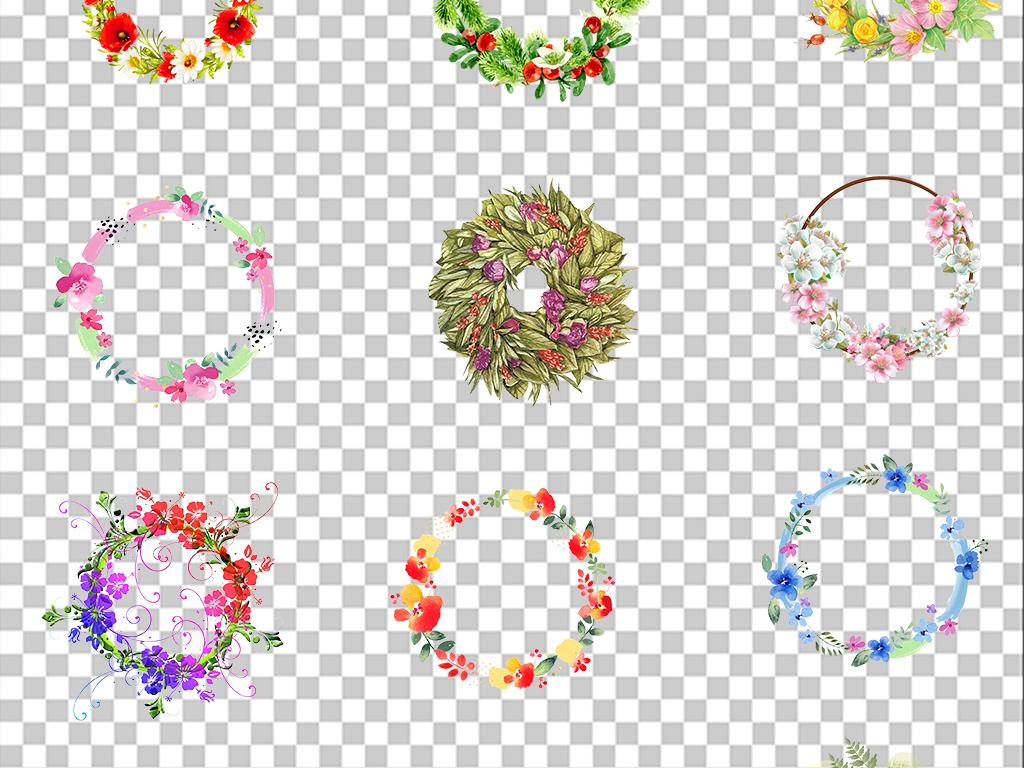 清新手绘花朵花环边框png透明免扣素材