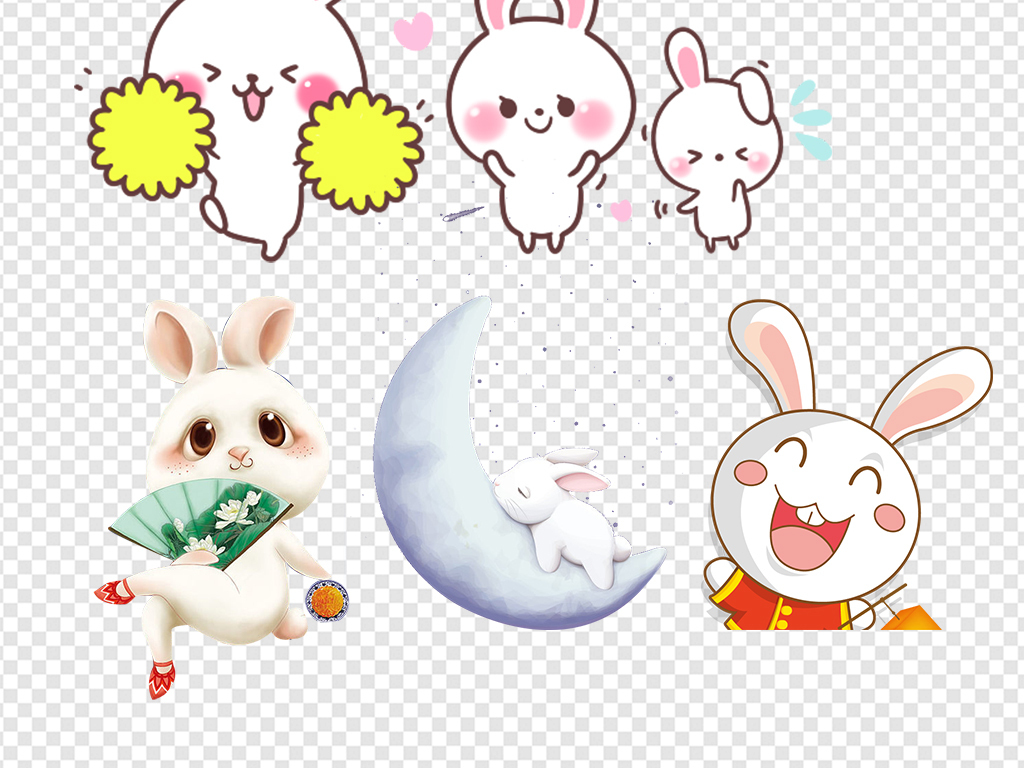 小兔子小白兔玉兔卡通可爱表情素材