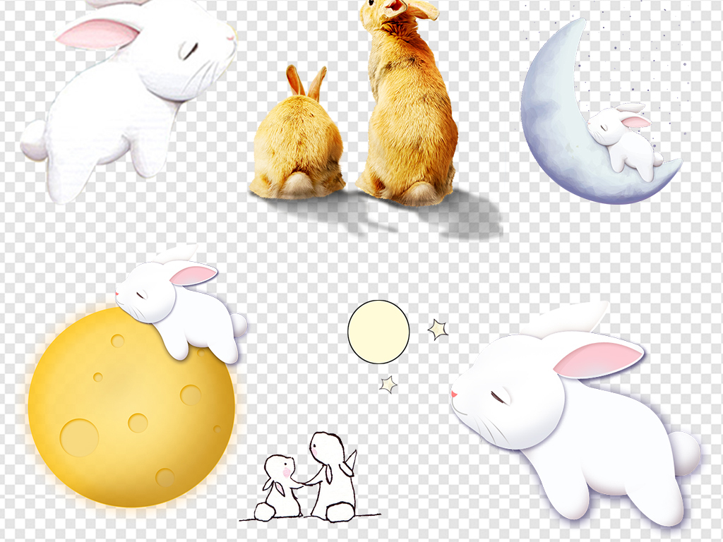 免抠元素 节日素材 中秋节 > 中秋玉兔嫦娥月亮小白兔素材  素材图片
