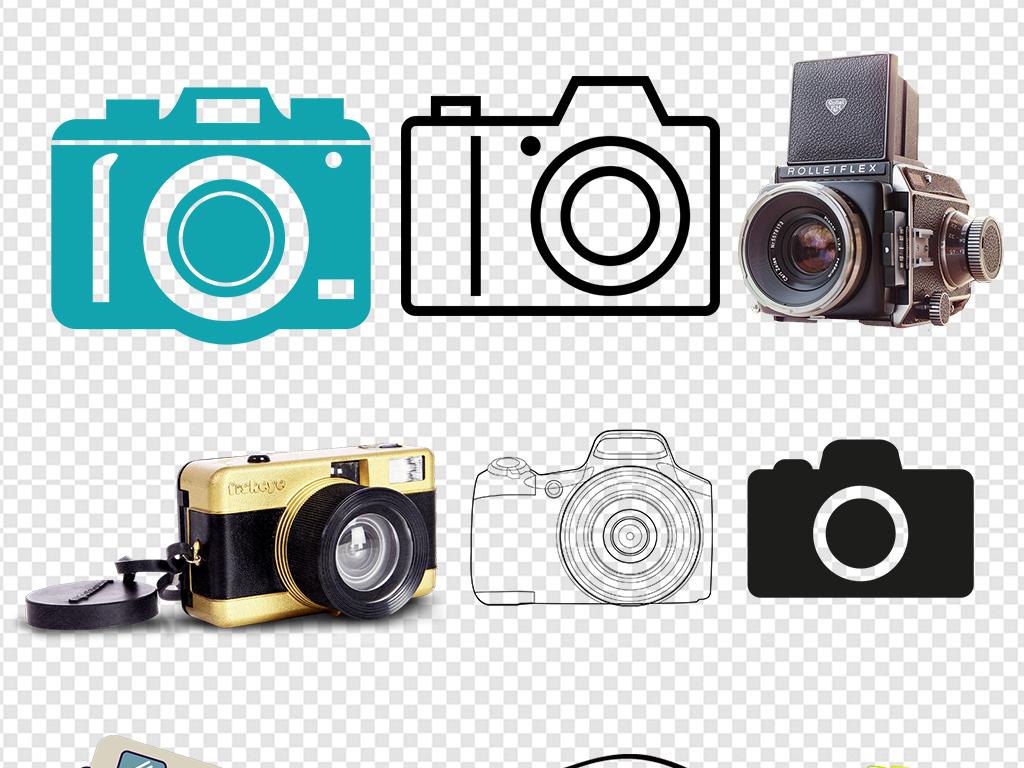 实用卡通单反相机数码相机图标图案素材