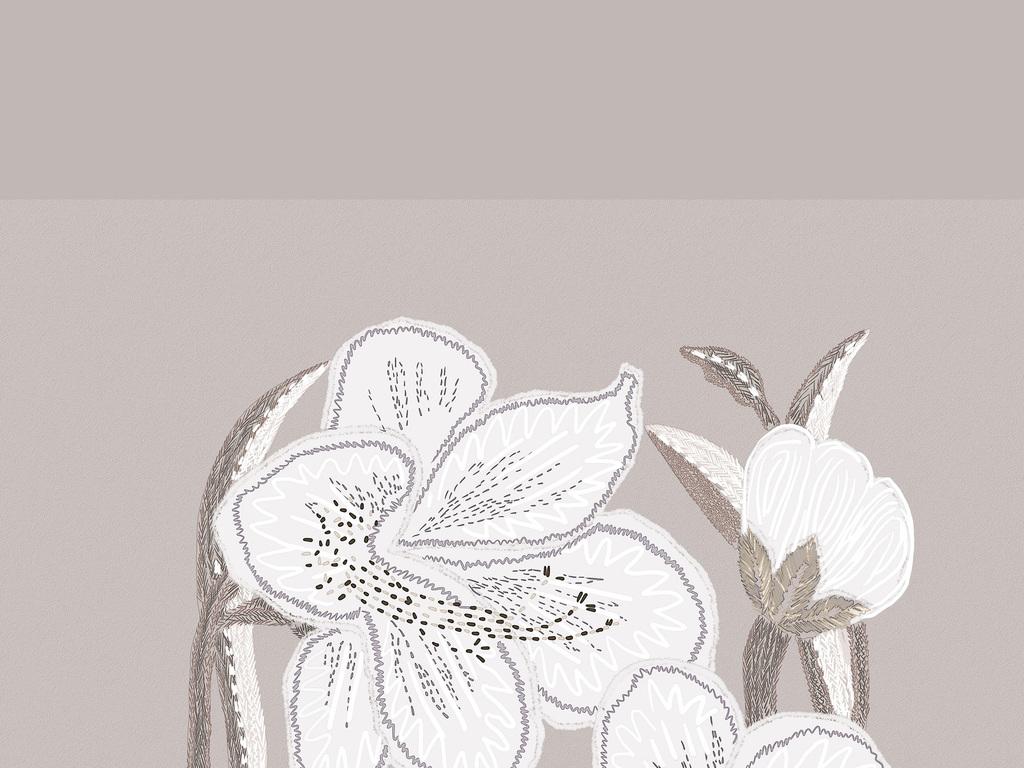 植物花卉刺绣图案素材