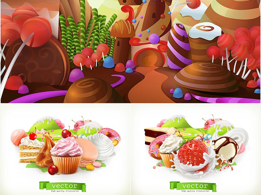 免扣元素 花纹边框 卡通手绘边框 > 卡通童趣甜蜜糖果屋牛奶甜点海报
