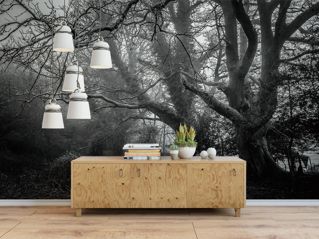 背景墙|装饰画 电视背景墙 现代简约电视背景墙 > 黑白森林大树背景墙