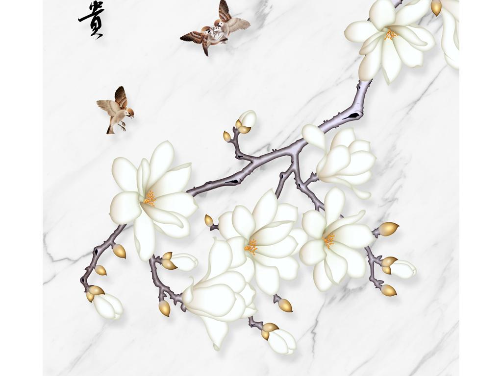 新中式高清手绘玉兰花大理石纹玄关背景墙