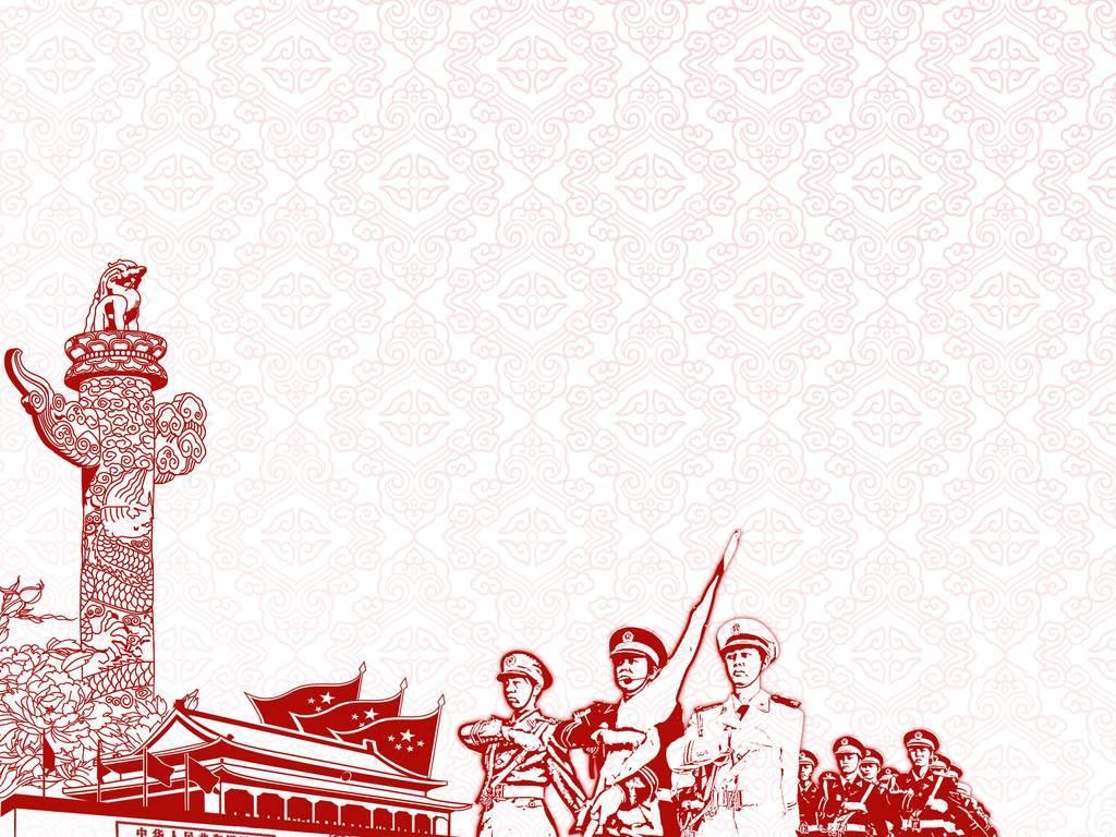 升旗仪式手绘铅笔画石狮子国旗国徽八一党建军队