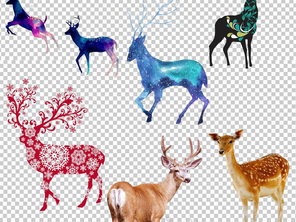 水彩动物鹿森林鹿剪影麋鹿剪影png素材