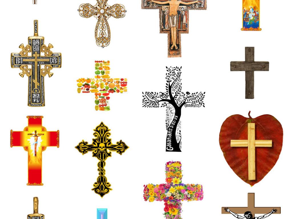 手绘卡通金色黄金花朵十字架免扣png素材