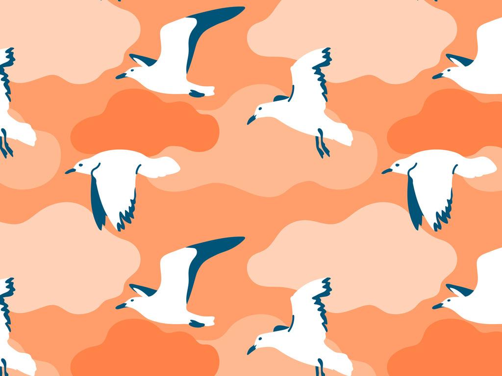 产品图案设计 服装/配饰印花图案 动物图案 > 手绘海鸥迷彩图  版权