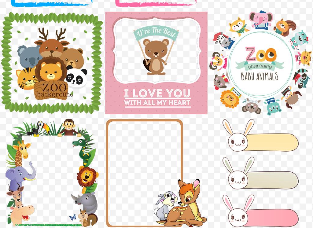 可爱卡通熊猫动物边框对话框装饰免扣素材