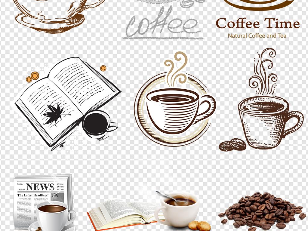 手绘咖啡喝咖啡咖啡豆咖啡杯png素材