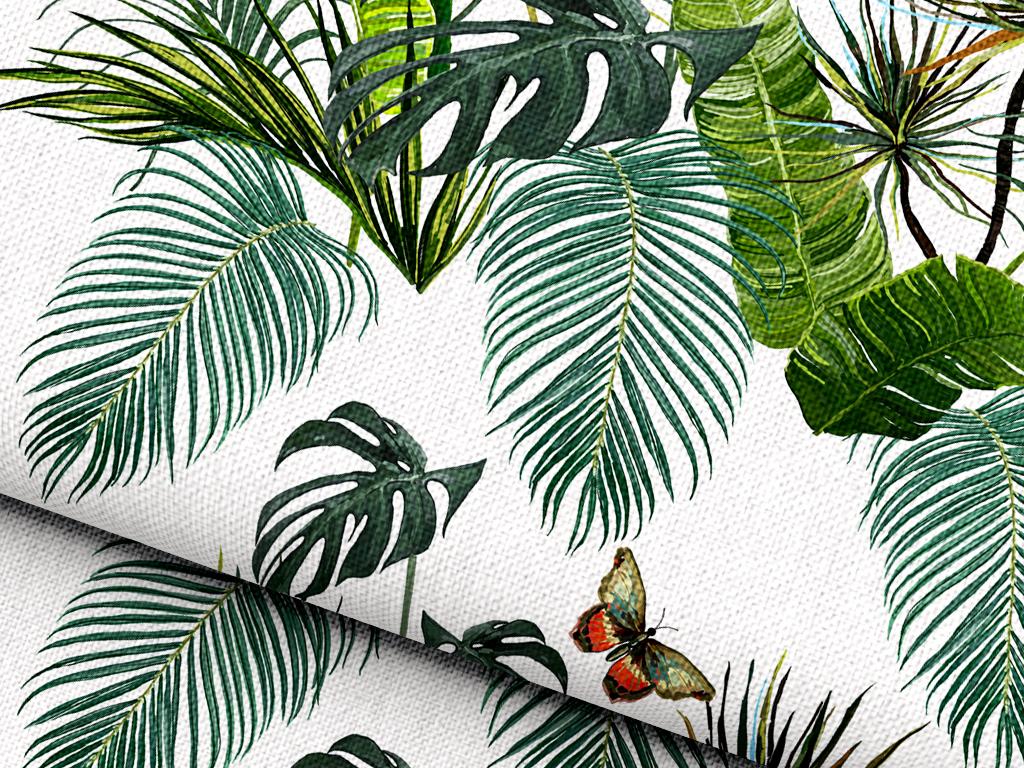 叶子植物类蝴蝶昆虫热带植物植物设计热带植物手绘面料设计设计手绘